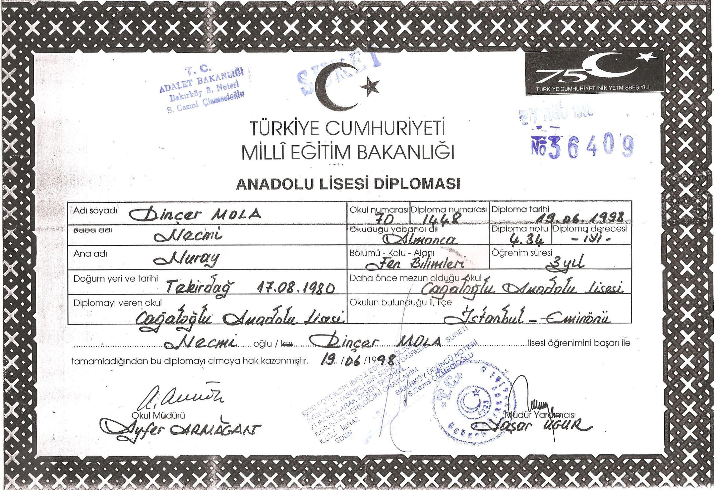 VE DİNÇER BÜYÜYOR / ANADOLU LİSESİ
